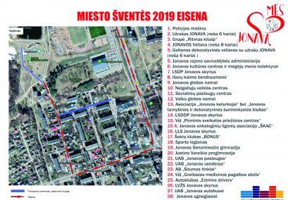 """Miesto šventės """"Mes mylim Jonavą"""" 2019 eisena!"""