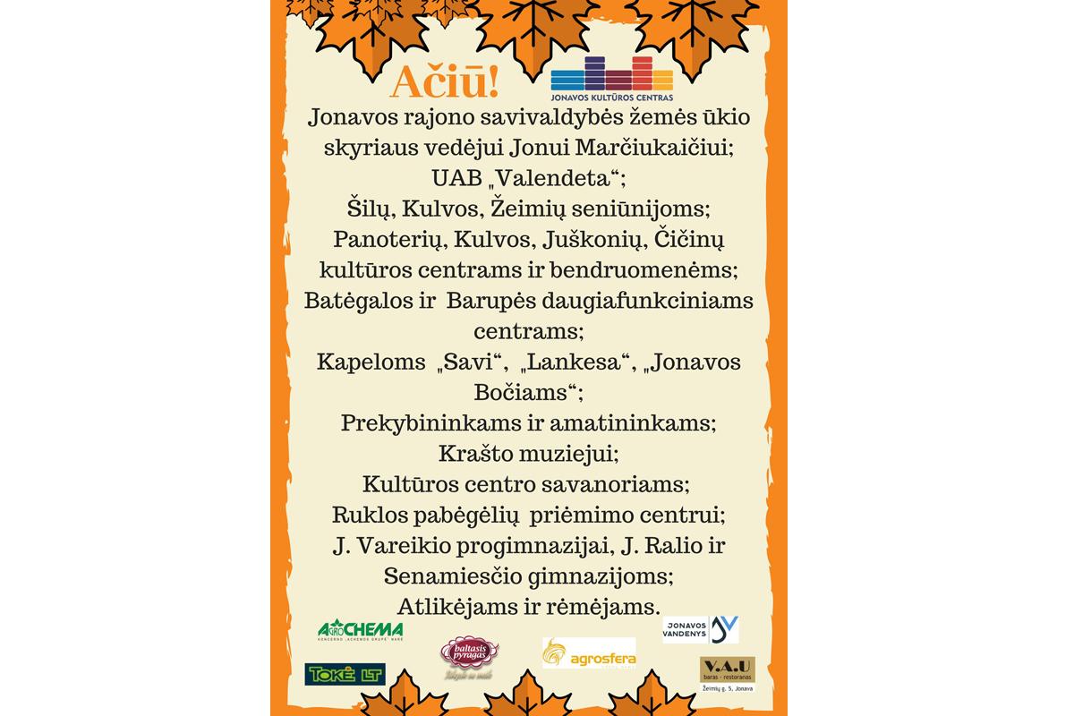 Ačiū prisidėjusiems prie rudens šventės!
