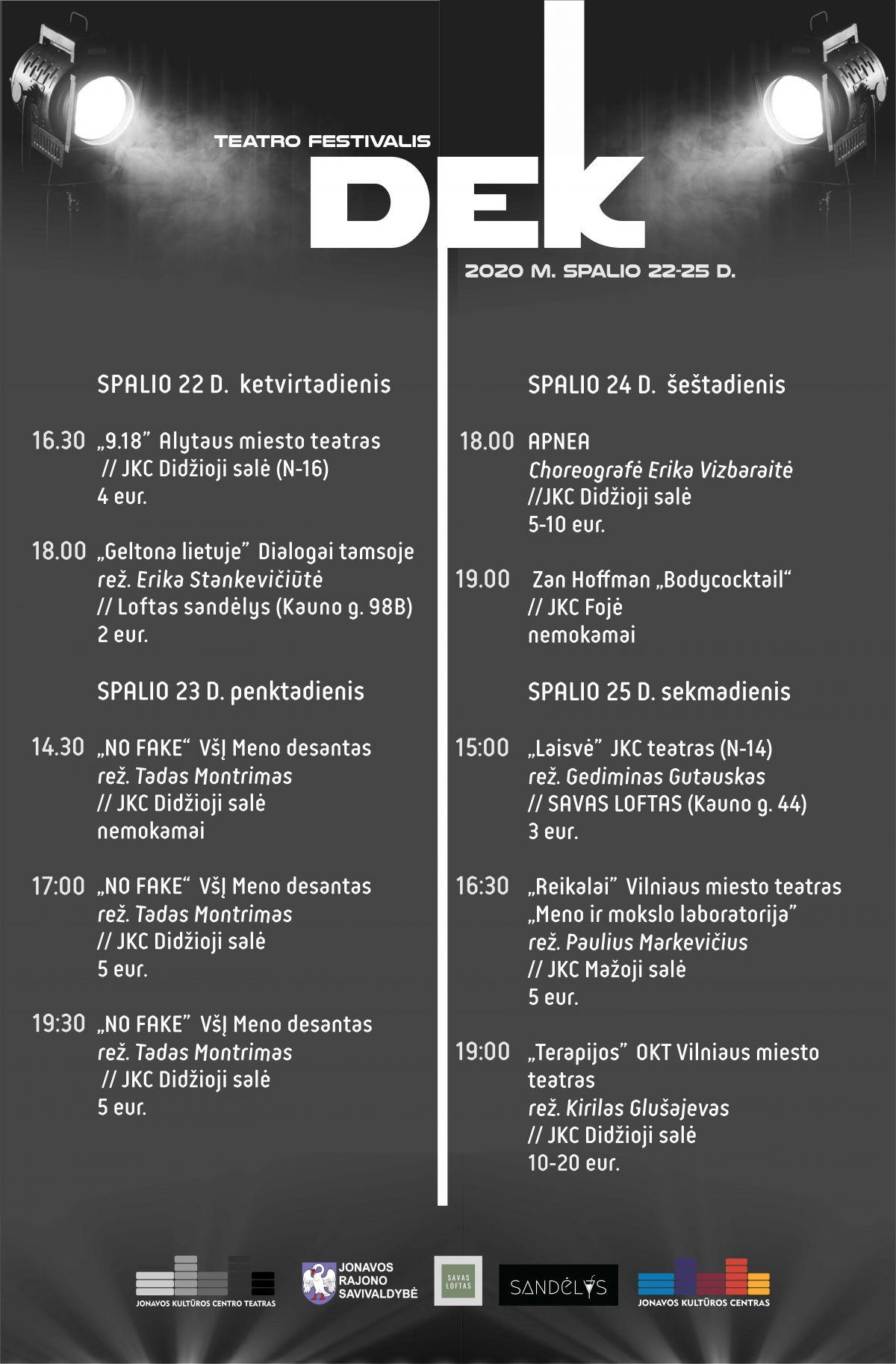 "Netrukus startuos teatro festivalis ""Dek"""