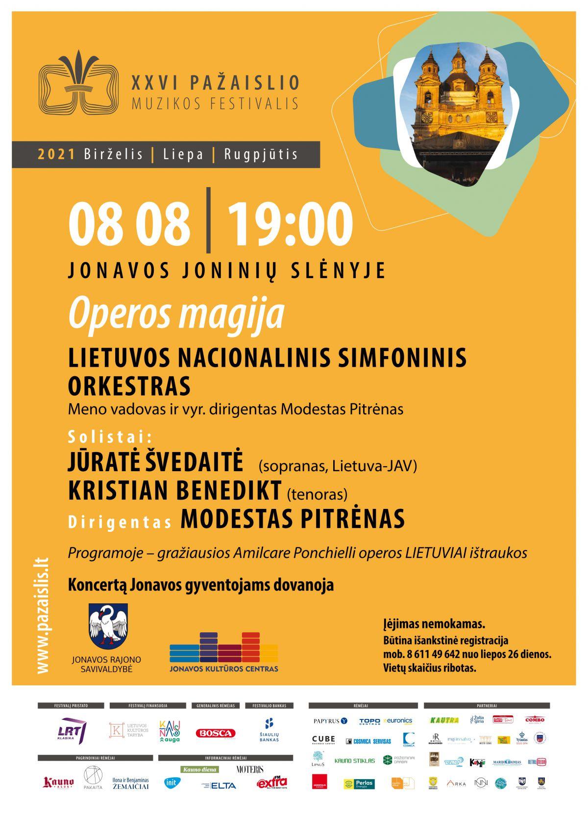 """Jonavos miesto šventė. Pažaislio muzikos festivalis – """"Operos magija"""""""