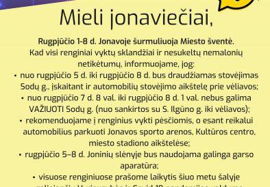 Informacinis pranešimas Jonavos gyventojams ir svečiams dėl Miesto šventės 2021