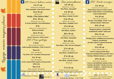 Rugsėjo mėnesio renginių planas